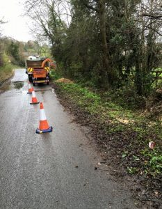 coned off road for tree felling